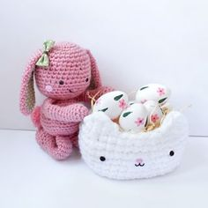 Easter amigurumi bunny and kitty cat crochet basket