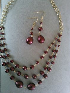 THREE LAYERS FASHION PEARL NECKLACE AND EAR RINGS $12
