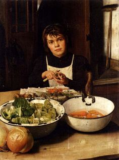 Charles Spencelayh (1865 – 1958, English). This depiction is respectful toward the worker. Visually, she is overwhelmed by the bowls (her work). She's shrouded in mourning (loss of childhood) and seriously composed.