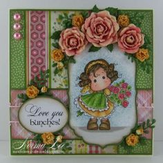 A card featuring 'Tilda Hiding Rose Bouquet' from Magnolia-licious, by Norma Lee of From My Craft Room. / www.magnoliastamp... #MagnoliaStamps #crafts #cards #DIY #handmadecard #cardmaking #rubberstamping #promarkers #paperflowers  #spring #love