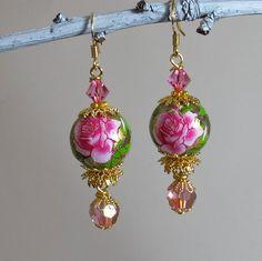 Pink Rose Earrings, Floral Earrings, Flower Jewelry