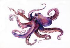 I'm thinking of an octopus to cover up my current foot tattoo.would two octopus tattoos be too much? Kraken, Watercolor And Ink, Watercolor Paintings, Watercolor Jellyfish, Watercolor Animals, Watercolor Illustration, Watercolor Tattoo, Octopus Tattoos, Jellyfish Tattoo