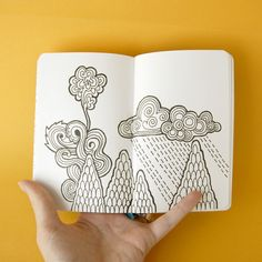 zentangle in art journal mtns clouds Tangle Doodle, Tangle Art, Doodles Zentangles, Zen Doodle, Zentangle Patterns, Doodle Art, Doodle Inspiration, Art Journal Inspiration, Illustrations