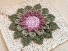 The Crocodile Flower pattern by Joyce D. Lewis Ravelry: Project Gallery for The Crocodile Flower pattern by Joyce Lewis Love Crochet, Crochet Motif, Crochet Flowers, Crochet Granny, Crochet Cushions, Crochet Pillow, Blanket Crochet, Crochet Blocks, Crochet Squares