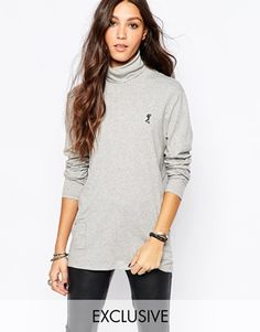 Religion Oversized High Neck Long Sleeve Turtleneck Top With Small Skull