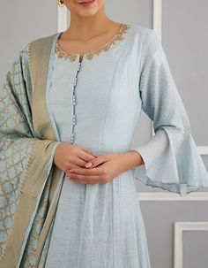 Check out our Blue Chanderi Anarkali Set by MATSYA BY UTKARSH AHUJA available at Ogaan Online store at special price. Matya's collection features relaxed festive pieces in a soft and serene colour palette, with traditional shapes and dainty details Neck Designs For Suits, Dress Neck Designs, Blouse Designs, Sleeve Designs, Pakistani Dresses, Indian Dresses, Indian Outfits, Punjabi Dress, Pakistani Suits