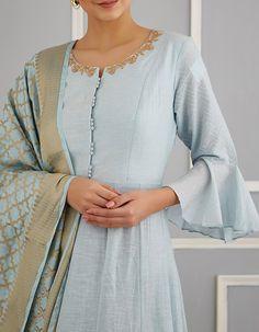 Blue Chanderi Anarkali Set