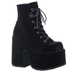 Black Velvet Platform Boots by Demonia. Lace-up Demonia ankle boots with chunky platform heel and back zipper. Demonia Black Velvet Lace-up Platform Boots Chunky Heel Platform Boots, Velvet Ankle Boots, Lace Up Ankle Boots, Chunky Heels, Ankle Booties, Shoe Boots, Bootie Boots, Goth Shoes, Prom Shoes