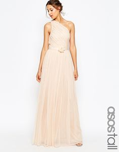 ASOS+TALL+WEDDING+One+Shoulder+Maxi+Dress+With+Corsage