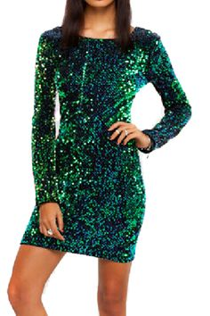 Shop Sequined Long Sleeves Slim Dress at Pariscoming, personal womens clothing online store! high quality, cheap and big discount, latest fashional style!