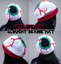 Creepy 'EYE SEE YOU' Slouchy Crochet Beanie - Spooky Eyeball Hat - Psychobilly Halloween Headwear - Horror Gothic Winter Hat by VelvetVolcano, Crochet Eyes, Crochet Beanie, Knitted Hats, Knit Crochet, Crochet Crafts, Yarn Crafts, Crochet Projects, Loom Knitting, Knitting Patterns
