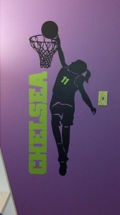 Wall Decal From Eye Candy Signs Purple Green Basketball Girl Custom Kids Room
