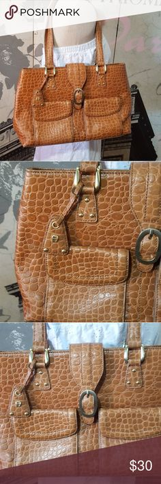 NWOT Etienne Aigner handbag Brand new, unused Etienne Aigner handbag. Crocodile print exterior and dark brown interior.  Camel brown color outisde.  Name brand hang tag attched. Etienne Aigner Bags Shoulder Bags