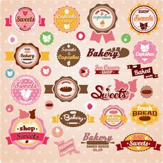 Collection of vintage retro ice cream and bakery labels - Buy this stock vector and explore similar vectors at Adobe Stock Cupcake Bakery, Bakery Cakes, Ice Cream Background, Cake Logo Design, Branding Design, Biscuits Packaging, Bread Shop, Hand Lettering Styles, Best Sweets
