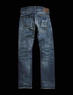 Medium wash vintage replica denim jeans made with cotton. Features a slight wrinkle effect and finished with a brushed copper shank button. Jeans Pants, Denim Jeans, Abs Boys, Shank Button, Indigo, Slim, Legs, Vintage Denim, Casual