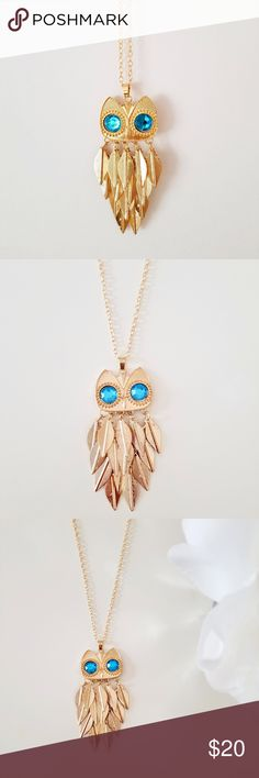 NWOT Gold Tone Owl Blue Crystals Long Necklace Brand new, never worn, fashion statement, vintage owl necklace.  The necklace is made of zinc alloy, and contains two turquoise/blue beads.  The pendant is 3.5x1.4 inches. Jewelry Necklaces