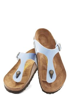 Garden Consultation Sandal in Light Blue by Birkenstock - Flat, Faux Leather, Blue, Beach/Resort, Pastel, Better, Solid, Casual, Boho, Vinta...