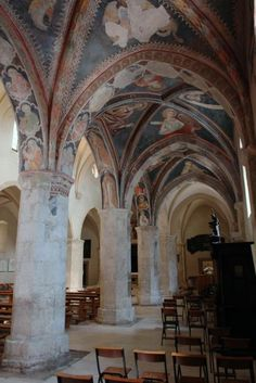 Church and frescoes, Celano, Italy. Villas In Italy, Famous Architecture, Italy Holidays, Regions Of Italy, Great Vacations, His Travel, Holiday Travel, Old Houses, Archaeology