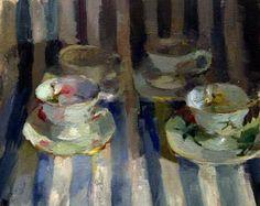 "Laura Swytak ""Four Cups"", 2009, oil on canvas on wood, 16 x 20"""