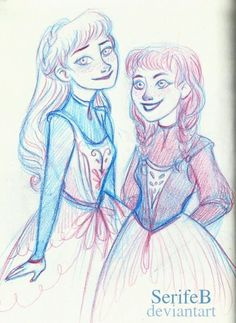 Anna and Elsa with her hair down