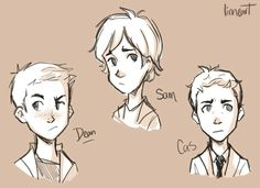 Team Free Will drawing | Dean, Sam, Cas as kids | supernatural