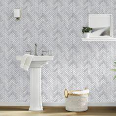 Self-adhesive : Wallpaper : Removable Peel & Stick Wallpaper : Target Paintable Wallpaper, Bathroom Wallpaper, Vinyl Wallpaper, Peel And Stick Wallpaper, Adhesive Wallpaper, Chic Wallpaper, Marble Herringbone Tile, Tin Tiles, Flats