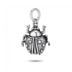 Ladybug Charm in Sterling Silver (15 x 14mm)