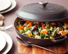 Roasted Beetroot and Squash Quinoa Risotto with Spinach and Creamy Blue Cheese