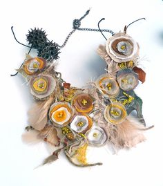 LOVE!!!!!!!!  Fall beauty X fiber art necklace mixed media necklace by Cesart64, $65.00