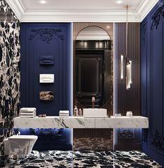 Black&Bronze Kitchen on Behance Mansion Interior, Luxury Homes Interior, Luxury Home Decor, Home Interior Design, Washroom Design, Toilet Design, Bathroom Design Luxury, Neoclassical Interior, Powder Room Design