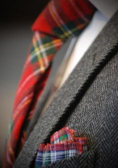 Scottish accent - #tartan wool necktie and cotton pocket square. Suit, shirt, tie, and pocket square all by Beckett & Robb