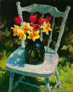 Daffodils and Tulips, Gregory Packard, oil, 30x24 in ~ http://www.gregorypackard.com/