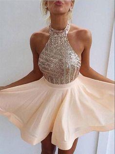 Charming A-line Halter Homecoming Dress Short Prom Drsess SKY778