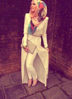 Beautiful outfit! Hijab, the long cardigan/abaaya type thing, everything! :)