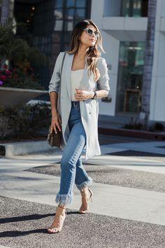 Slouchy longline blazer + white top + fringe jeans + nude strappy heels
