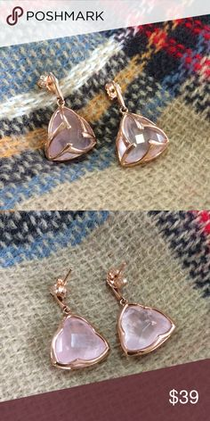 OJDC Genuine Rose Quartz Earrings 100% Genuine Rose Quartz | Hypoallergenic lead and nickel free alloy (brass) | 14k Gold Plated | Prices firm unless bundled OJDC Jewelry