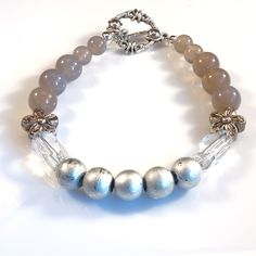 Women's Glacier Gray and Silver Beaded Bracelet by DungleBees on Etsy