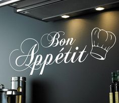 Bon Appetit (with chef hat) Wall Quote Sticker made from adhesive waterproof vinyl.  Sizes available are:  Small: 58cm x 21cm Large: 80cm x 32cm  You will receive; 1x Bon Appetit (with chef hat) wall sticker in your choice of colour 1 x Installation instruction sheet  This item will arrive well packaged in a hard backed envelope (small) or large tube (large)  ***************************************************************************  EXTRA INFO:  ABOUT OUR WALL DECALS: - Each item is cut to…