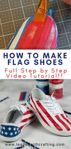 Painting Shoes Diy Tutorial Make Your Own Unique Canvas Shoes With Chalk Paint. Ideal For Of July Or Any Day Diy Crafts Videos, Diy Crafts For Kids, Home Crafts, Holiday Crafts, Red Chalk Paint, 4th Of July Outfits, July Crafts, Painted Shoes, Cool Paintings