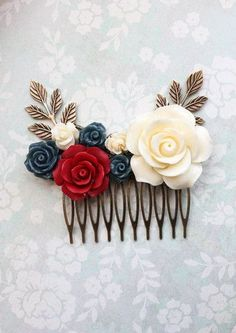 Deep Red and Navy Rose Hair Comb ~ Bridal Hair Piece