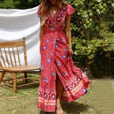 Fubotevic Women Ruffle Backless Split Summer Spaghetti Strap Beach Party Maxi Dress