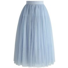 Chicwish Exquisite Tulle Mesh Midi Skirt in Sky Blue ($48) ❤ liked on Polyvore featuring skirts, blue, calf length skirts, blue tulle skirt, layered skirt, blue midi skirt and elastic waist skirt