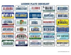 License Plate Game and other travel games for the car.  Get kids to LOOK OUT THE CAR WINDOW instead of burying their noses in some electronic device!