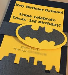 Batman birthday invitation.  popinvitations@gmail.com