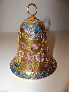 "Vintage Cloisonne Enamel BELL Christmas Ornament BUTTERFLIES Flowers 3.5"" #CLOISONNE#CHRISTMASBELL"