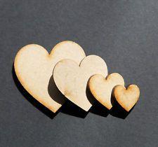 laser cut wooden LOVE heart shapes mdf wedding Craft hearts 4,5,6,8,10 cm