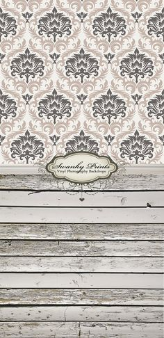 Two Tone Damask & Vintage Shabby Wood - Oz Backdrops and Props