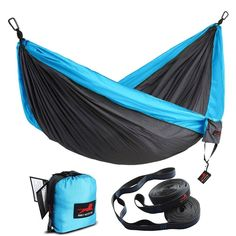 Honest Outfitters Single & Double Camping Hammock With Hammock Tree Straps,Portable Parachute Nylon Hammock for Backpacking travel Best Camping Hammock, Backpacking Hammock, Portable Hammock, Camping Cot, Camping Gear, Outdoor Camping, Indoor Outdoor, Motorcycle Camping, Backyard Camping
