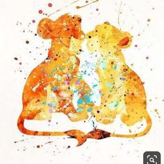 Simba and Nala, The Lion King Disney Watercolor Print. Simba Disney, Disney Lion King, Disney Art, Disney Pixar, Watercolor Disney, Watercolor Print, Watercolor Paintings, Lion King Poster, Lion King Art