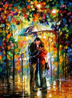 Leonid Afremov A Kiss in the Park oil painting for sale; Select your favorite Leonid Afremov A Kiss in the Park painting on canvas or frame at discount price. Acrylic Canvas, Oil Painting On Canvas, Canvas Art Prints, Canvas Wall Art, Art In The Park, Kiss Art, Umbrella Art, Oil Painting Reproductions, Beginner Painting